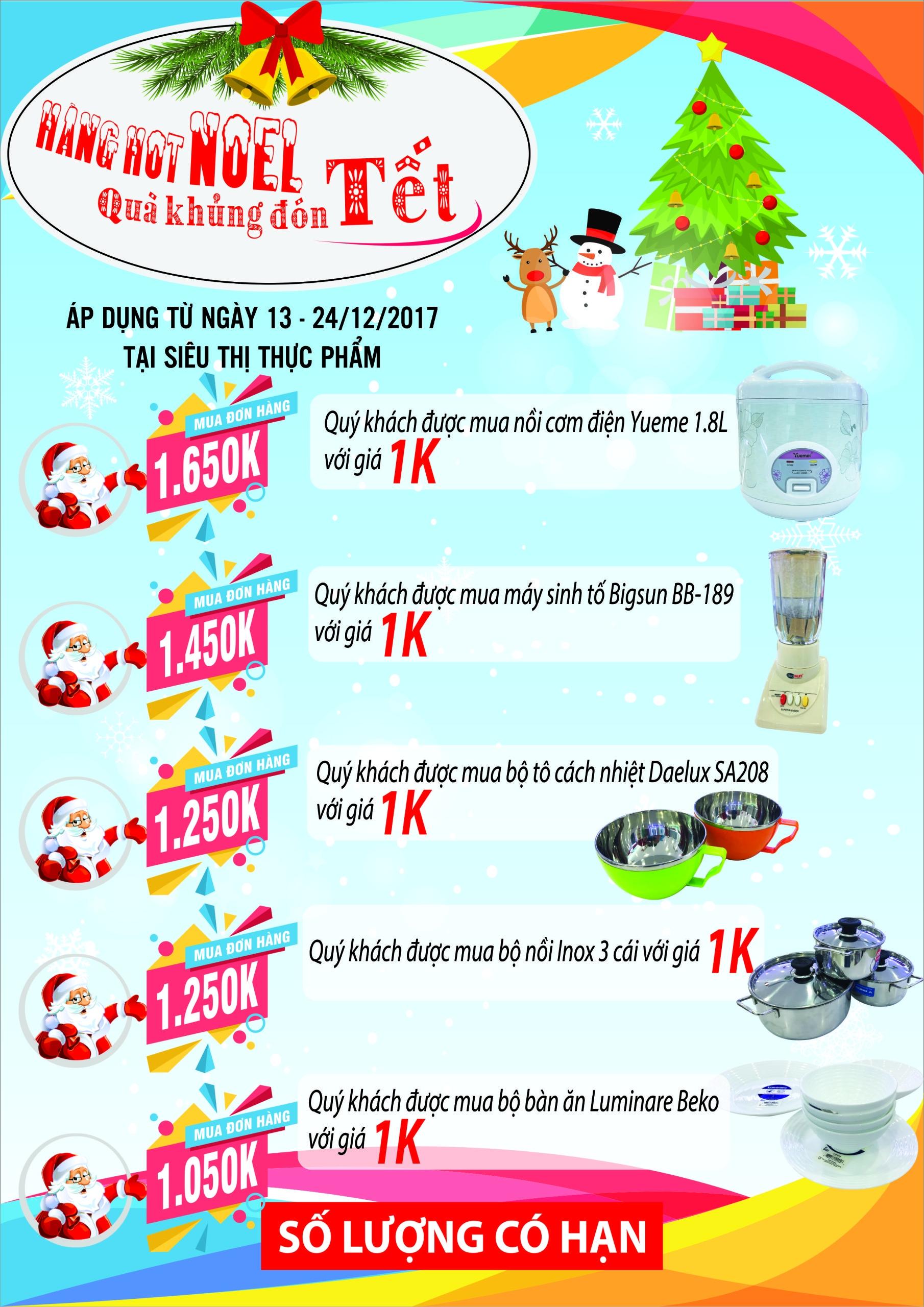 Hàng Hot Noel - Quà khủng đón Tết Tại siêu thị thực phẩm (áp dụng từ ngày 13/12 - 24/12/2017)